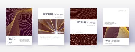 Minimalistic brochure design template set. Gold abstract lines on bordo background. Astonishing brochure design. Emotional catalog, poster, book template etc.