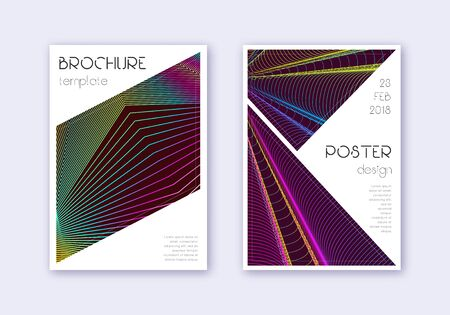 Triangle cover design template set. Rainbow abstract lines on wine red background. Imaginative cover design. Optimal catalog, poster, book template etc.