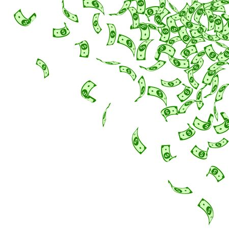 American dollar notes falling. Small USD bills on white background. USA money. Creative vector illustration. Impressive jackpot, wealth or success concept.
