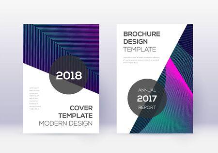 Modern cover design template set. Neon abstract lines on dark blue background. Extraordinary cover design. Breathtaking catalog, poster, book template etc. Illusztráció
