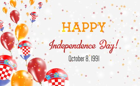 Croatia Independence Day Greeting Card. Flying Balloons in Croatia National Colors. Happy Independence Day Croatia Vector Illustration.
