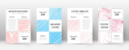 Cover page design template. Business brochure layout. Bewitching trendy abstract cover page. Pink and blue grunge texture background. Flawless poster.