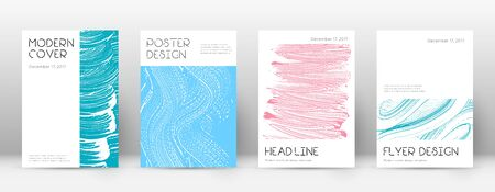 Cover page design template. Minimal brochure layout. Charming trendy abstract cover page. Pink and blue grunge texture background. Awesome poster.