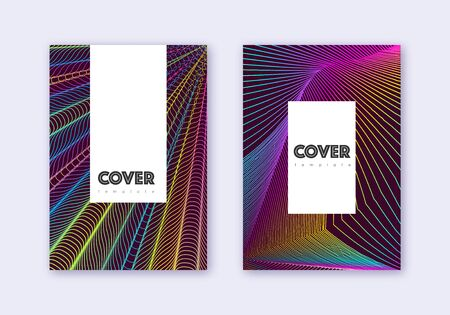 Hipster cover design template set. Rainbow abstract lines on wine red background. Classy cover design. Fascinating catalog, poster, book template etc.