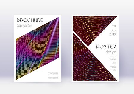 Triangle cover design template set. Rainbow abstract lines on wine red background. Imaginative cover design. Majestic catalog, poster, book template etc.