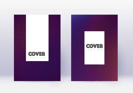 Hipster cover design template set. Violet abstract lines on dark background. Classy cover design. Worthy catalog, poster, book template etc. Illusztráció
