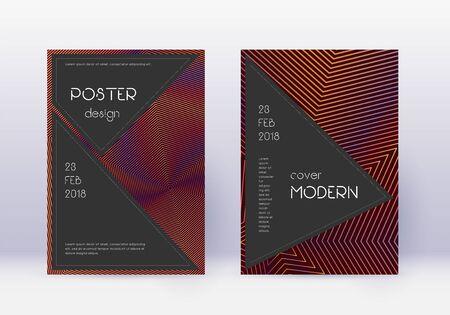 Black cover design template set. Orange abstract lines on wine red background. Admirable cover design. Radiant catalog, poster, book template etc. Illusztráció