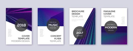 Modern brochure design template set. Neon abstract lines on dark blue background. Awesome brochure design. Perfect catalog, poster, book template etc.