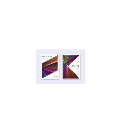 Triangle cover design template set. Rainbow abstract lines on wine red background. Imaginative cover design. Outstanding catalog, poster, book template etc.