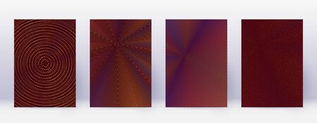 Art business card. Abstract lines modern brochure template. Orange vibrant gradients geometry on wine red background. Quaint cover, brochure, poster, book etc.