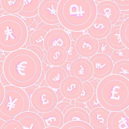 International currencies copper coins seamless pattern. Cute scattered pink Global coins. Success concept. World money pattern. Coin vector illustration. Ilustrace
