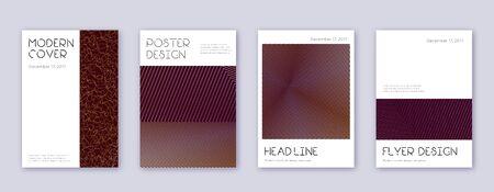 Minimal brochure design template set. Gold abstract lines on bordo background. Appealing brochure design. Enchanting catalog, poster, book template etc. Illusztráció
