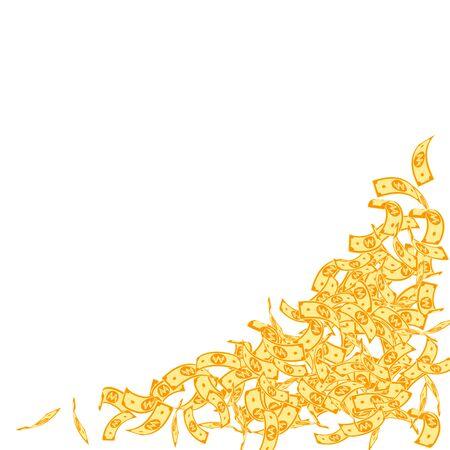 Korean won notes falling. Small WON bills on white background. Korea money. Dazzling vector illustration. Dramatic jackpot, wealth or success concept.