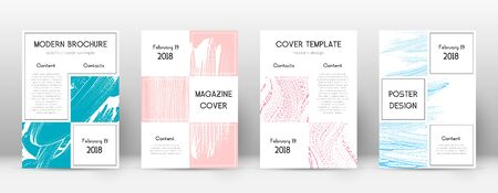 Cover page design template. Business brochure layout. Bewitching trendy abstract cover page. Pink and blue grunge texture background. Divine poster.