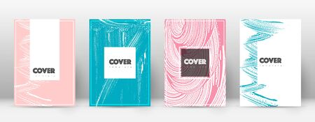 Cover page design template. Hipster brochure layout. Brilliant trendy abstract cover page. Pink and blue grunge texture background. Flawless poster. Illusztráció