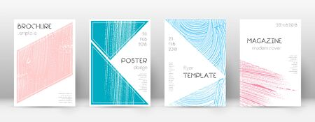 Cover page design template. Triangle brochure layout. Comely trendy abstract cover page. Pink and blue grunge texture background. Astonishing poster.