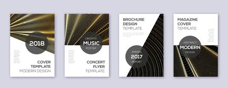 Modern brochure design template set. Gold abstract lines on black background. Awesome brochure design. Brilliant catalog, poster, book template etc.