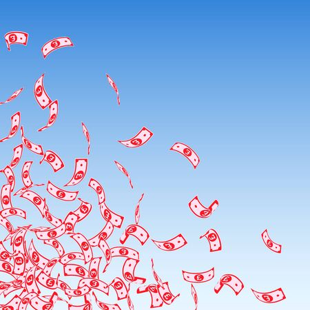 British pound notes falling. Small GBP bills on blue sky background. United Kingdom money. Awesome vector illustration. Cool jackpot, wealth or success concept.