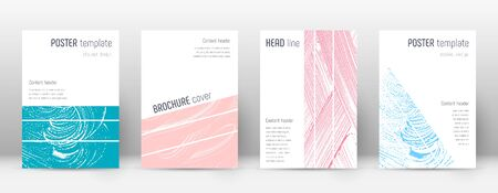 Cover page design template. Geometric brochure layout. Bold trendy abstract cover page. Pink and blue grunge texture background. Classy poster.