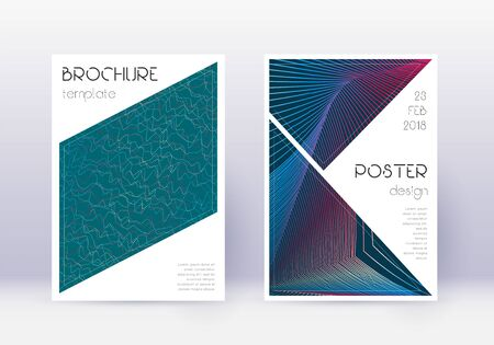Triangle cover design template set. Red abstract lines on white blue background. Immaculate cover design. Attractive catalog, poster, book template etc.