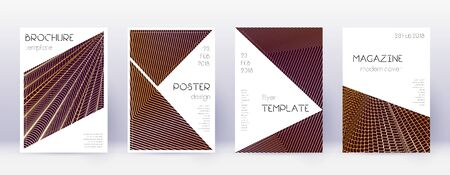 Triangle brochure design template set. Gold abstract lines on bordo background. Bold brochure design. Posh catalog, poster, book template etc. 일러스트