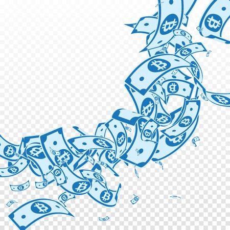 Bitcoin, internet currency notes falling. Messy BTC bills on transparent background. Cryptocurrency, digital money. Actual vector illustration. Marvelous jackpot, wealth or success concept.
