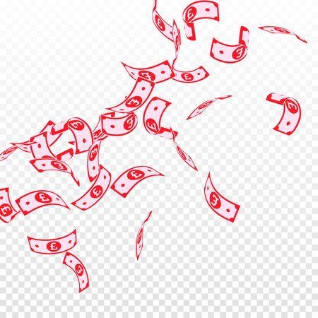 British pound notes falling. Floating GBP bills on transparent background. United Kingdom money. Authentic vector illustration. Amazing jackpot, wealth or success concept.