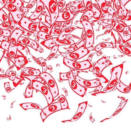 British pound notes falling. Messy GBP bills on white background. United Kingdom money. Awesome vector illustration. Remarkable jackpot, wealth or success concept.  イラスト・ベクター素材