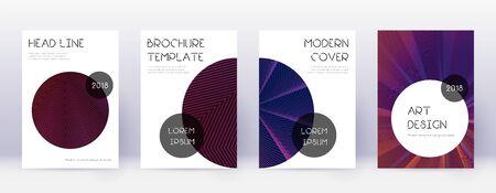 Trendy brochure design template set. Violet abstract lines on dark background. Bold brochure design. Energetic catalog, poster, book template etc.