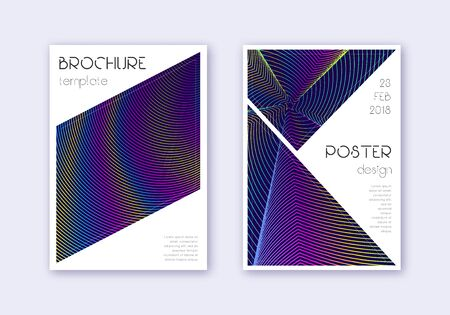 Triangle cover design template set. Rainbow abstract lines on dark blue background. Imaginative cover design. Delicate catalog, poster, book template etc.
