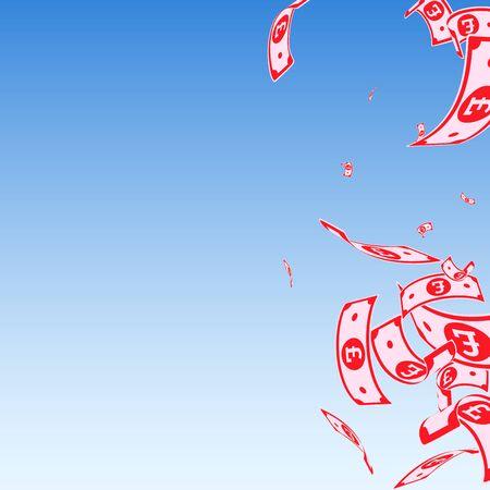 British pound notes falling. Random GBP bills on blue sky background. United Kingdom money. Authentic vector illustration. Unusual jackpot, wealth or success concept.