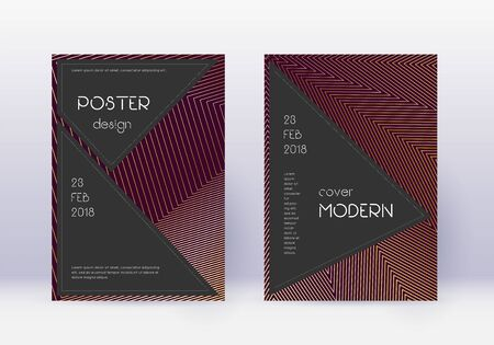 Black cover design template set. Gold abstract lines on maroon background. Actual cover design. Memorable catalog, poster, book template etc.