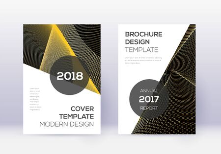 Modern cover design template set. Gold abstract lines on black background. Extra cover design. Amusing catalog, poster, book template etc.