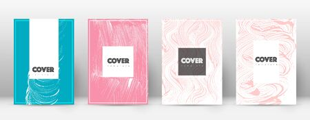 Cover page design template. Hipster brochure layout. Brilliant trendy abstract cover page. Pink and blue grunge texture background. Uncommon poster.