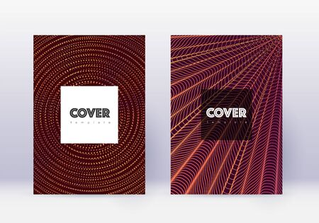 Hipster cover design template set. Orange abstract lines on wine red background. Cool cover design. Tempting catalog, poster, book template etc. Illusztráció