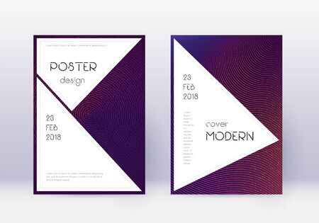Stylish cover design template set. Violet abstract lines on dark background. Fascinating cover design. Gorgeous catalog, poster, book template etc.