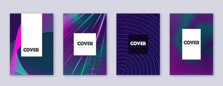 Hipster brochure design template set. Neon abstract lines on dark blue background. Amazing brochure design. Unique catalog, poster, book template etc. Illusztráció