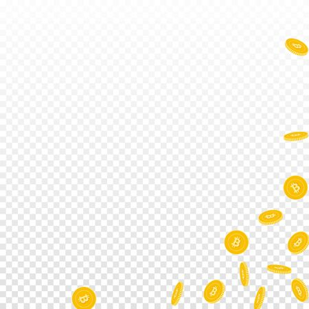Bitcoin, internet currency coins falling. Scattered sparse BTC coins on transparent background. Emotional abstract right bottom corner vector illustration. Jackpot or success concept.