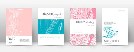 Cover page design template. Minimalistic brochure layout. Classy trendy abstract cover page. Pink and blue grunge texture background. Fancy poster. Illusztráció