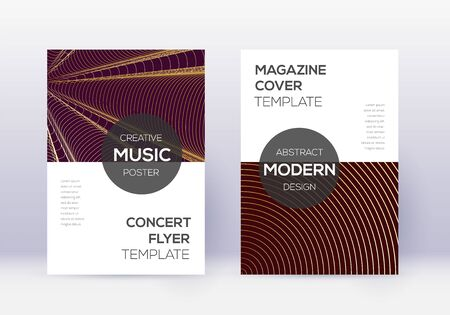 Modern cover design template set. Gold abstract lines on maroon background. Exceptional cover design. Fair catalog, poster, book template etc. Illusztráció