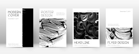 Cover page design template. Minimal brochure layout. Captivating trendy abstract cover page. Black and white grunge texture background. Excellent poster.