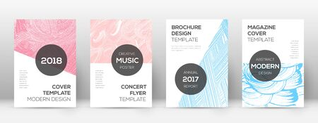 Cover page design template. Modern brochure layout. Cool trendy abstract cover page. Pink and blue grunge texture background. Beautiful poster. Illusztráció