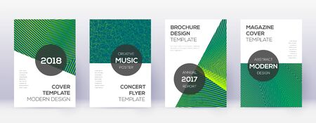 Modern brochure design template set. Green abstract lines on dark background. Awesome brochure design. Memorable catalog, poster, book template etc. Illusztráció
