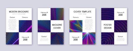 Business brochure design template set. Rainbow abstract lines on dark blue background. Adorable brochure design. Positive catalog, poster, book template etc.