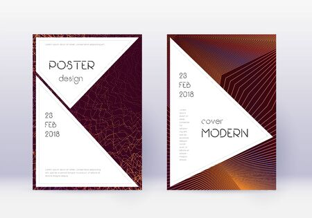 Stylish cover design template set. Orange abstract lines on wine red background. Fancy cover design. Sublime catalog, poster, book template etc. Illusztráció
