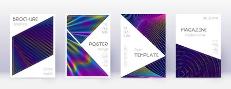 Triangle brochure design template set. Rainbow abstract lines on dark blue background. Breathtaking brochure design. Immaculate catalog, poster, book template etc.