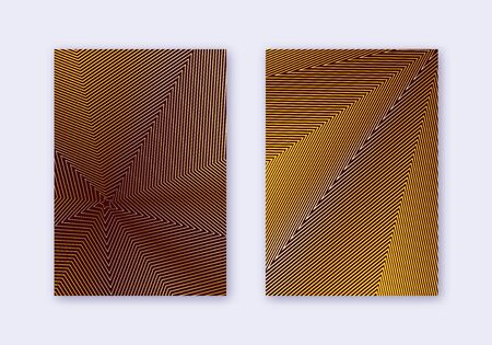Cover design template set. Abstract lines modern brochure layout. Gold vibrant halftone gradients on maroon background. Enchanting brochure, catalog, poster, book etc.
