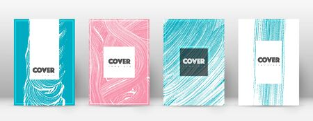 Cover page design template. Hipster brochure layout. Brilliant trendy abstract cover page. Pink and blue grunge texture background. Exquisite poster. Illusztráció