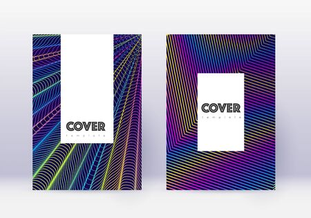 Hipster cover design template set. Rainbow abstract lines on dark blue background. Classy cover design. Astonishing catalog, poster, book template etc.