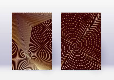Cover design template set. Abstract lines modern brochure layout. Gold vibrant halftone gradients on maroon background. Admirable brochure, catalog, poster, book etc.